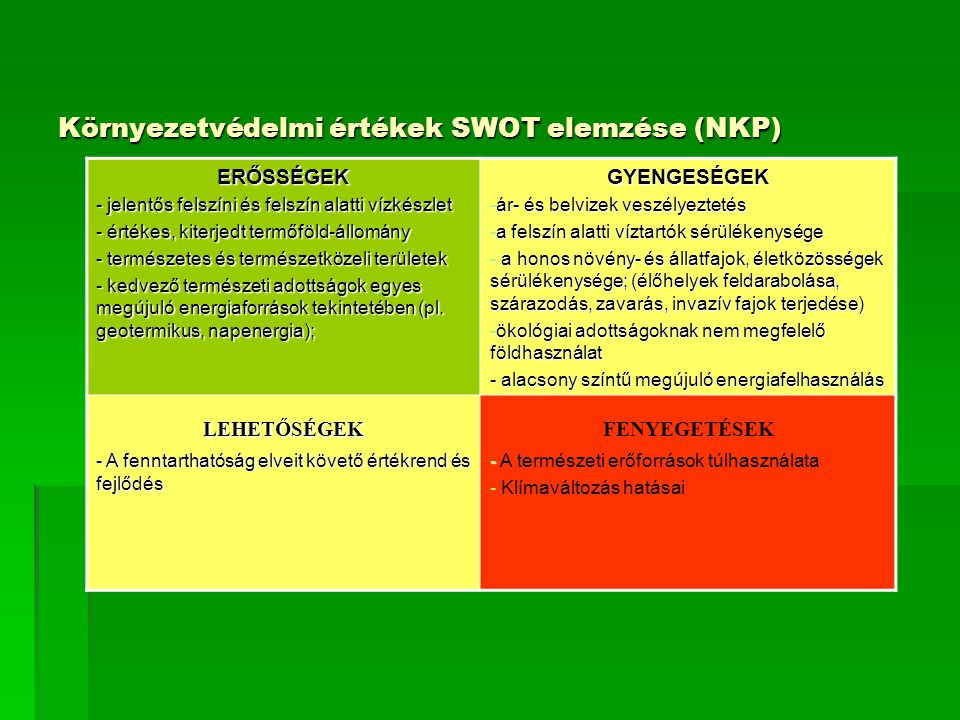 Környezetvédelmi értékek SWOT elemzése (NKP)