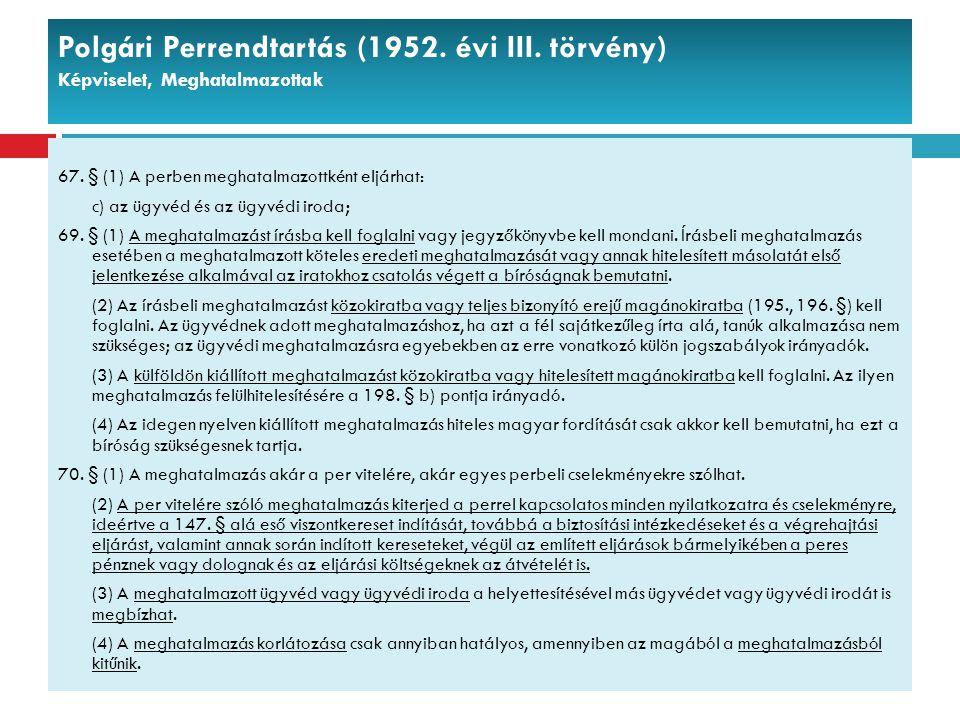Polgári Perrendtartás (1952. évi III