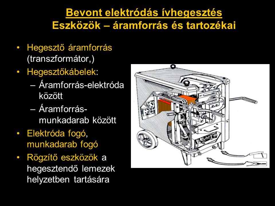 Bevont elektródás ívhegesztés Eszközök – áramforrás és tartozékai
