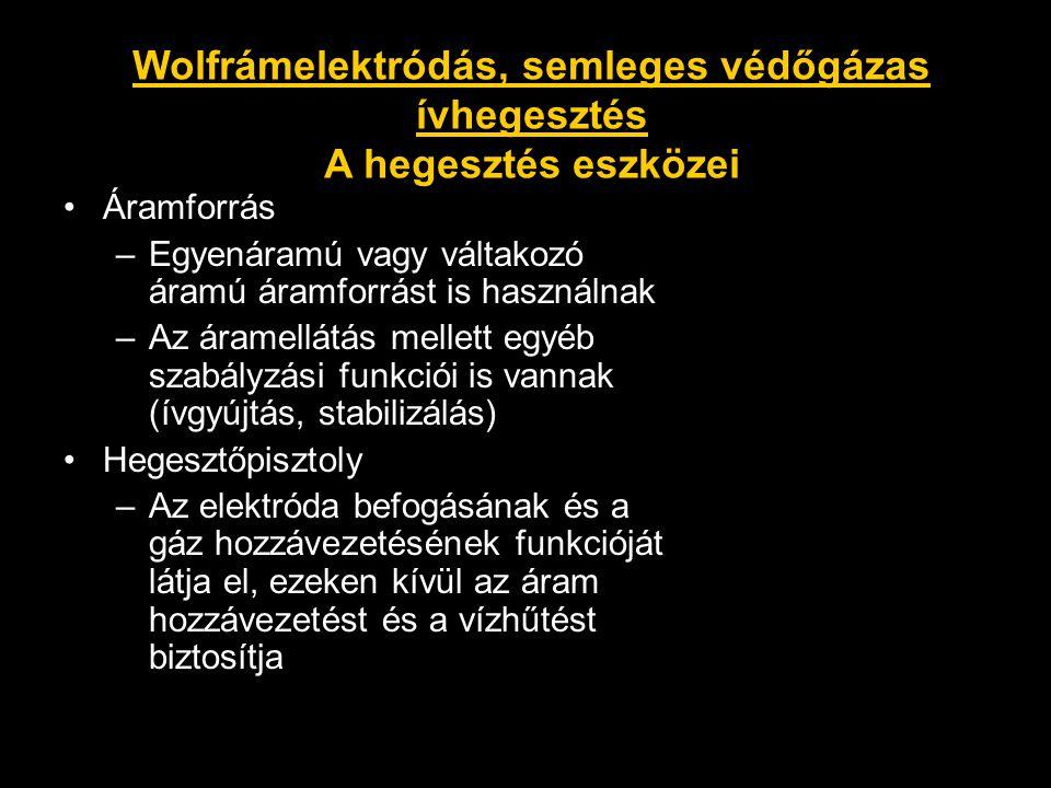 Wolfrámelektródás, semleges védőgázas ívhegesztés A hegesztés eszközei