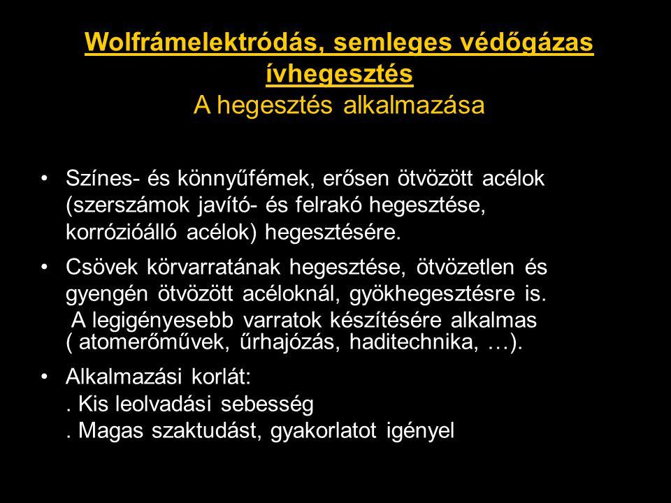 Wolfrámelektródás, semleges védőgázas ívhegesztés A hegesztés alkalmazása