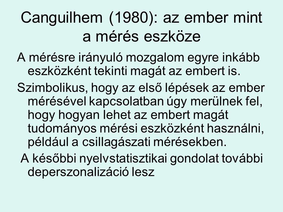 Canguilhem (1980): az ember mint a mérés eszköze