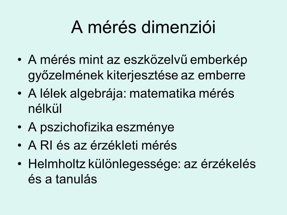 A mérés dimenziói A mérés mint az eszközelvű emberkép győzelmének kiterjesztése az emberre. A lélek algebrája: matematika mérés nélkül.