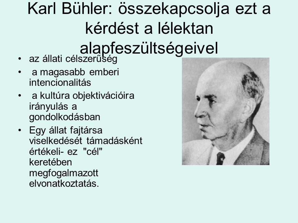 Karl Bühler: összekapcsolja ezt a kérdést a lélektan alapfeszültségeivel