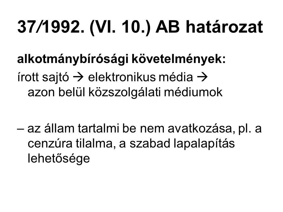 37/1992. (VI. 10.) AB határozat alkotmánybírósági követelmények: