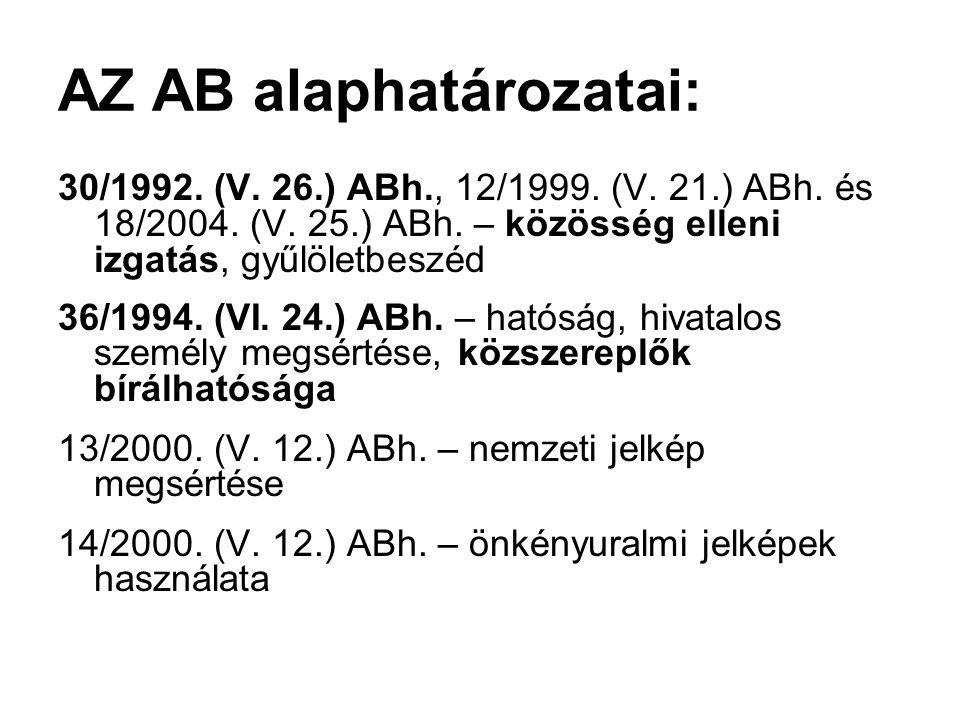 AZ AB alaphatározatai: