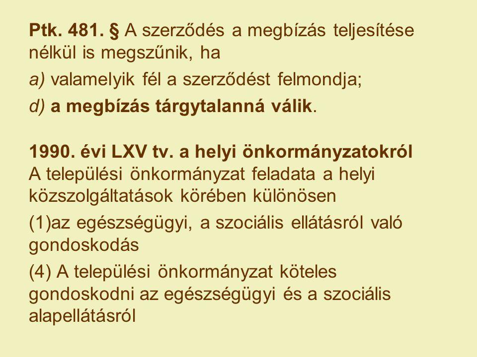 Ptk. 481. § A szerződés a megbízás teljesítése nélkül is megszűnik, ha