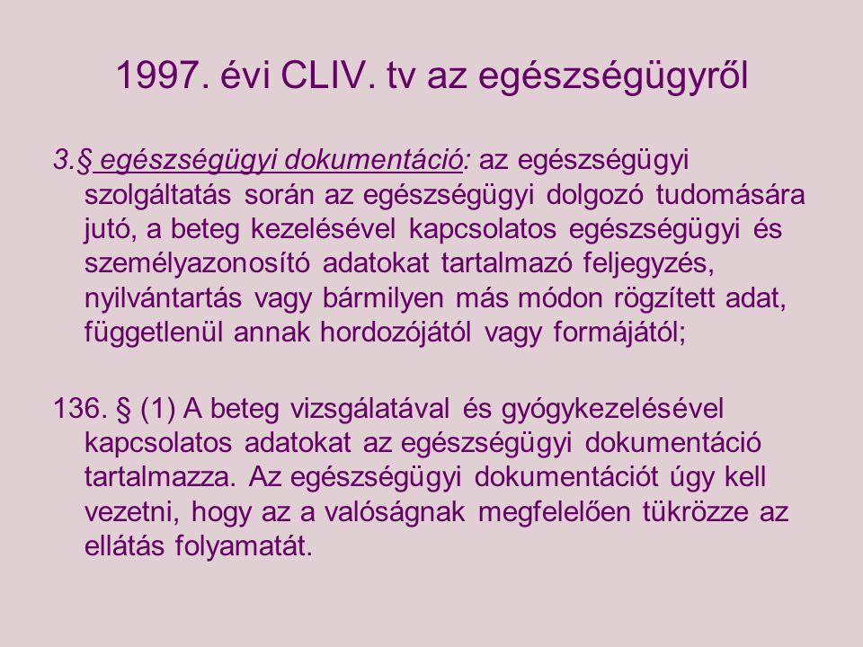 1997. évi CLIV. tv az egészségügyről