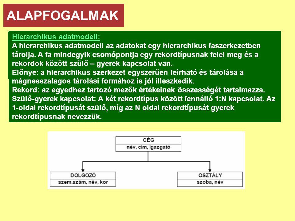 ALAPFOGALMAK Adatmodellek: Hierarchikus adatmodell: • hierarchikus