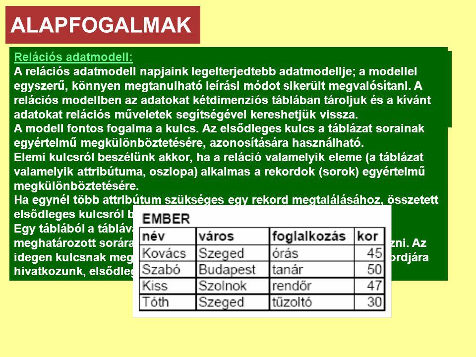 ALAPFOGALMAK Relációs adatmodell: Adatmodellek: