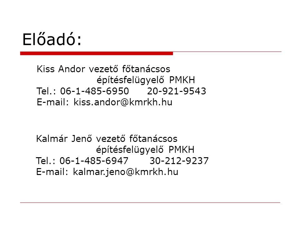 Előadó: Kiss Andor vezető főtanácsos építésfelügyelő PMKH