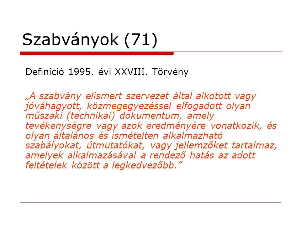 Szabványok (71) Definíció 1995. évi XXVIII. Törvény