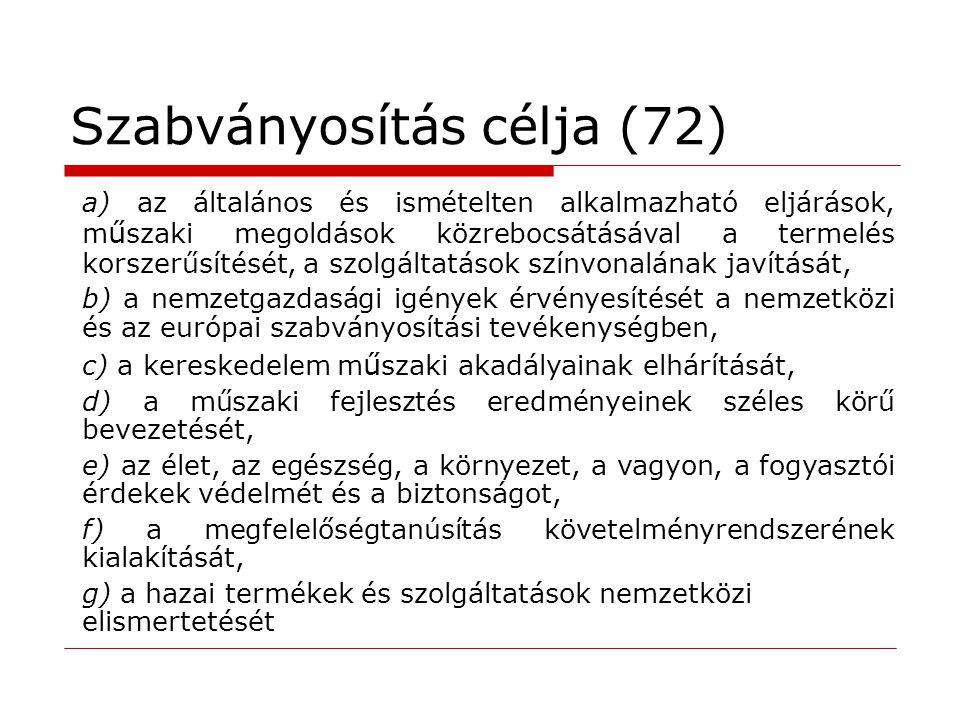 Szabványosítás célja (72)