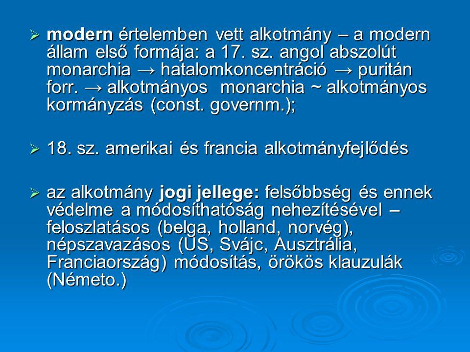 modern értelemben vett alkotmány – a modern állam első formája: a 17