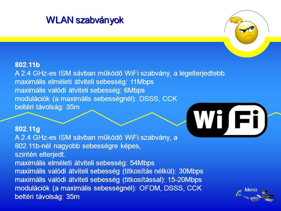 WLAN szabványok 802.11b. A 2.4 GHz-es ISM sávban működő WiFi szabvány, a legelterjedtebb. maximális elméleti átviteli sebesség: 11Mbps.