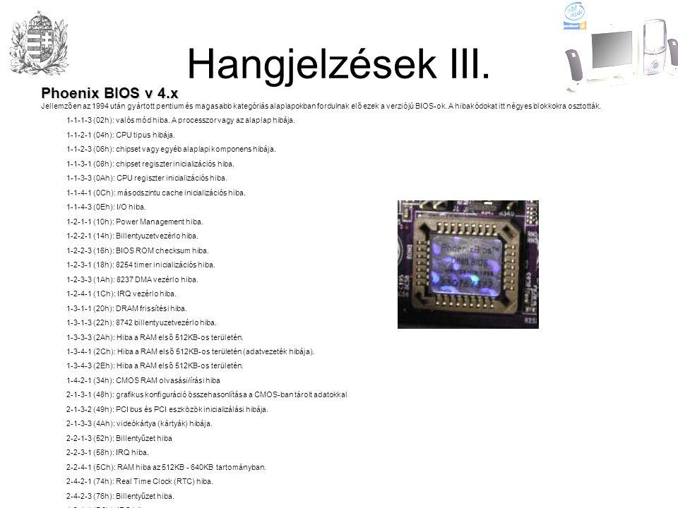 Hangjelzések III. Phoenix BIOS v 4.x