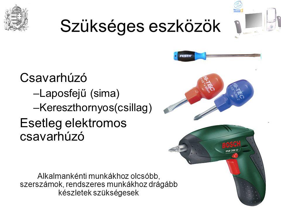 Szükséges eszközök Csavarhúzó Esetleg elektromos csavarhúzó