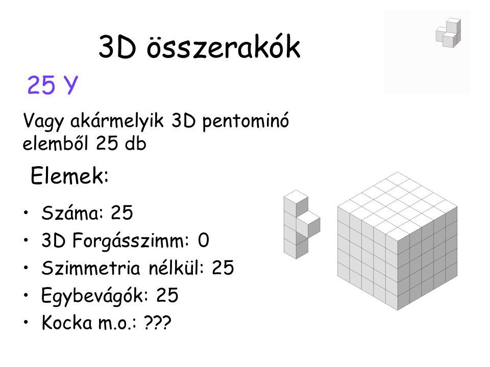 3D összerakók 25 Y Elemek: Vagy akármelyik 3D pentominó elemből 25 db
