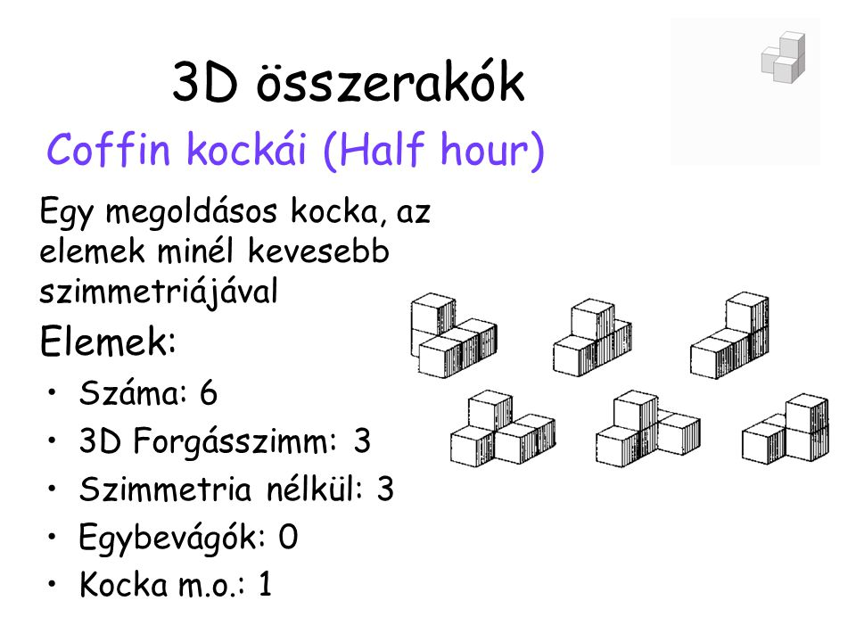 3D összerakók Coffin kockái (Half hour) Elemek: