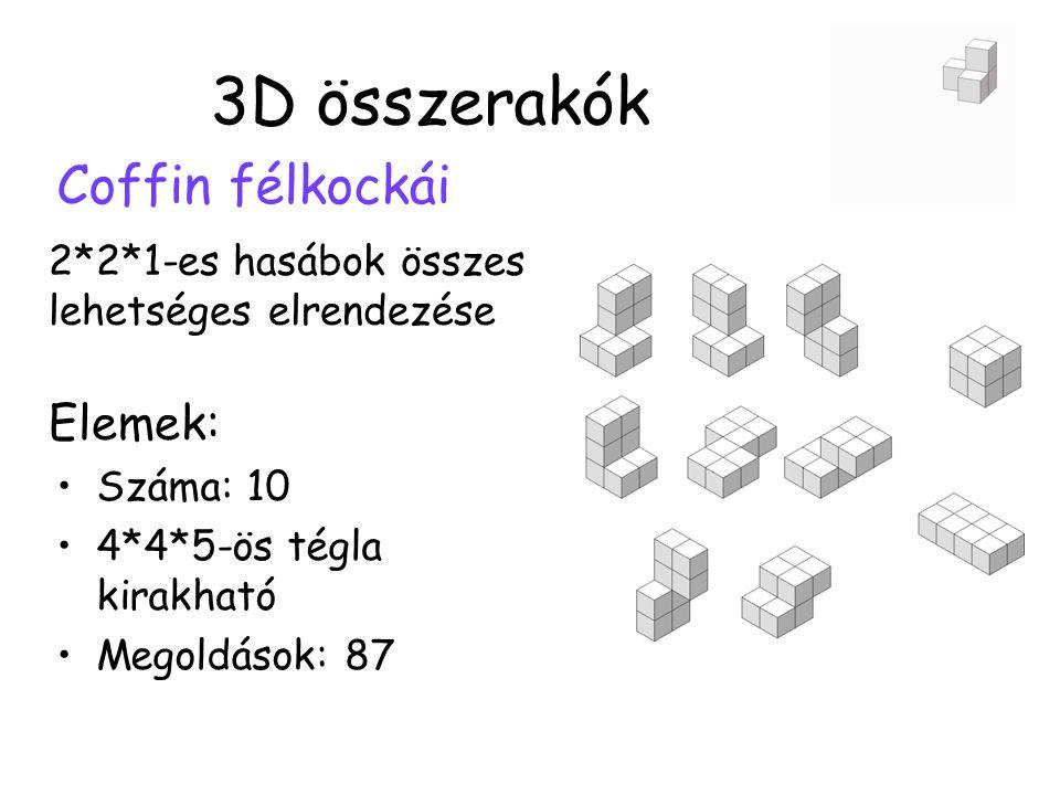 3D összerakók Coffin félkockái Elemek: