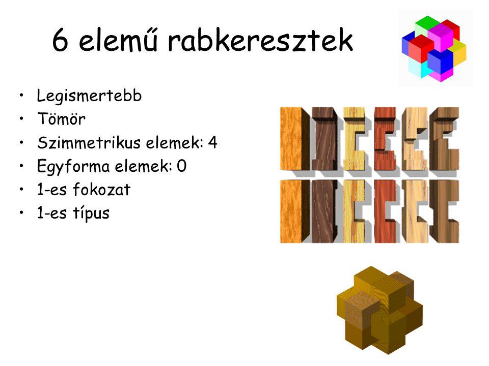 6 elemű rabkeresztek Legismertebb Tömör Szimmetrikus elemek: 4