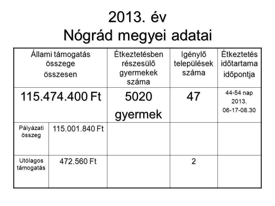2013. év Nógrád megyei adatai