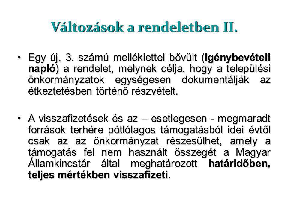 Változások a rendeletben II.