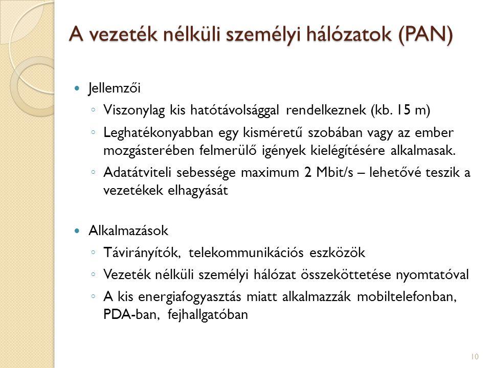 A vezeték nélküli személyi hálózatok (PAN)