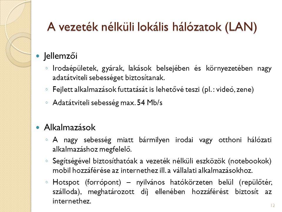 A vezeték nélküli lokális hálózatok (LAN)