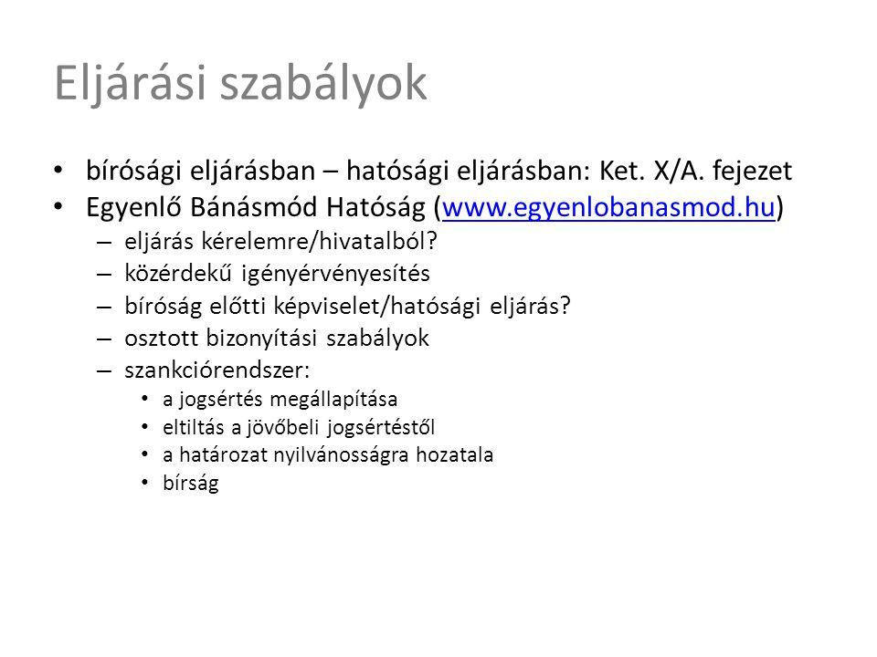 Eljárási szabályok bírósági eljárásban – hatósági eljárásban: Ket. X/A. fejezet. Egyenlő Bánásmód Hatóság (www.egyenlobanasmod.hu)