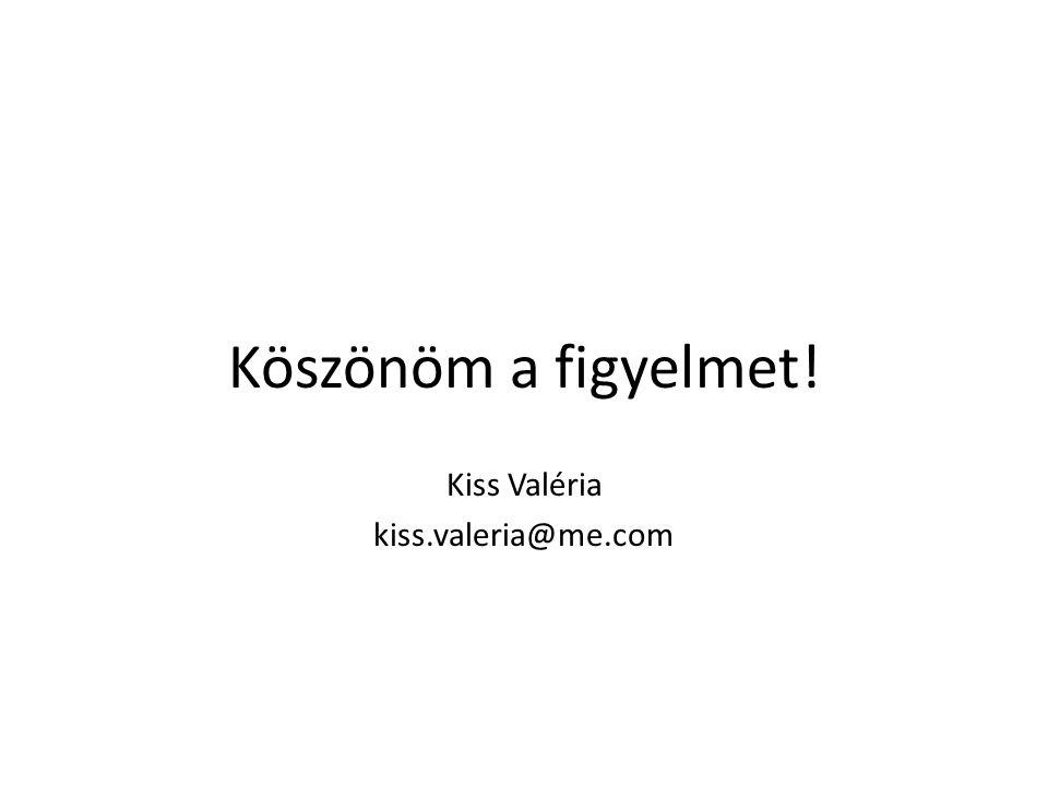 Köszönöm a figyelmet! Kiss Valéria kiss.valeria@me.com