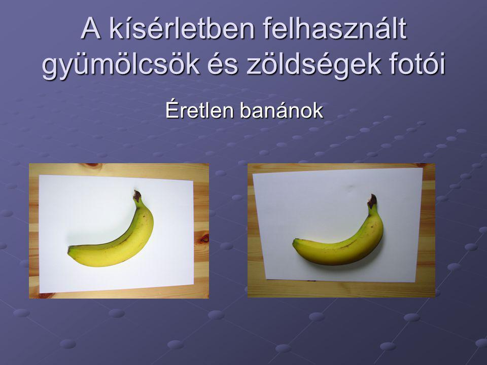 A kísérletben felhasznált gyümölcsök és zöldségek fotói