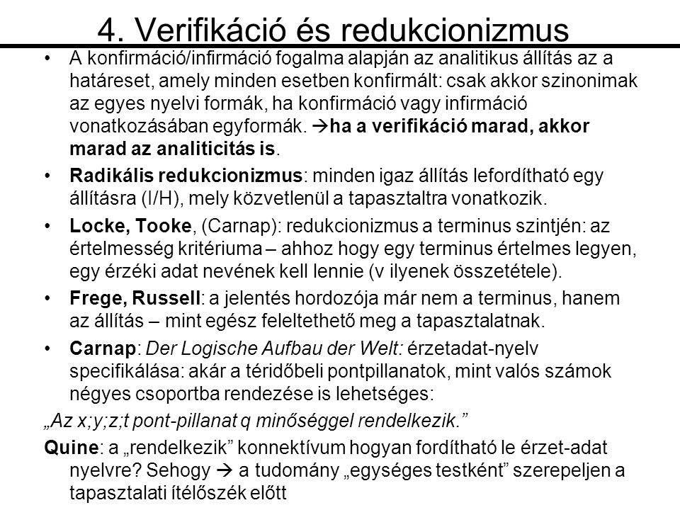 4. Verifikáció és redukcionizmus