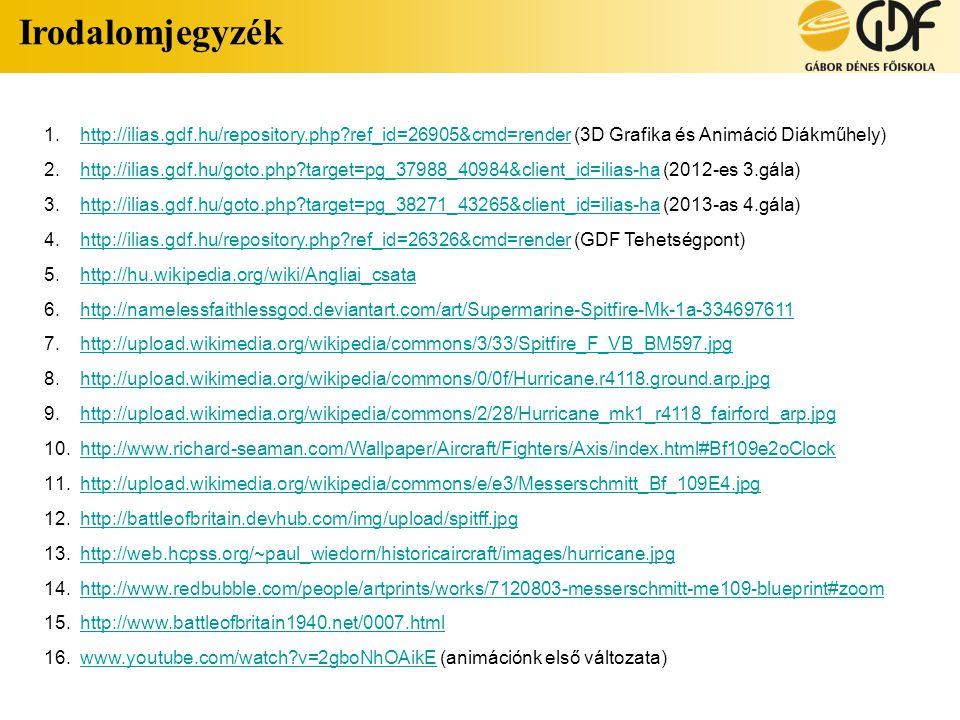 Irodalomjegyzék http://ilias.gdf.hu/repository.php ref_id=26905&cmd=render (3D Grafika és Animáció Diákműhely)