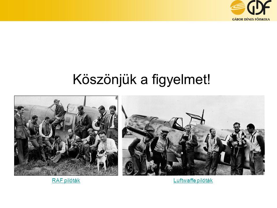 Köszönjük a figyelmet! RAF pilóták Luftwaffe pilóták RAF pilóták: