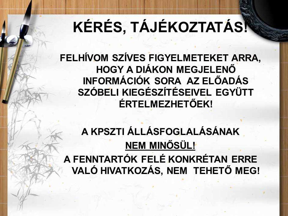 KÉRÉS, TÁJÉKOZTATÁS!