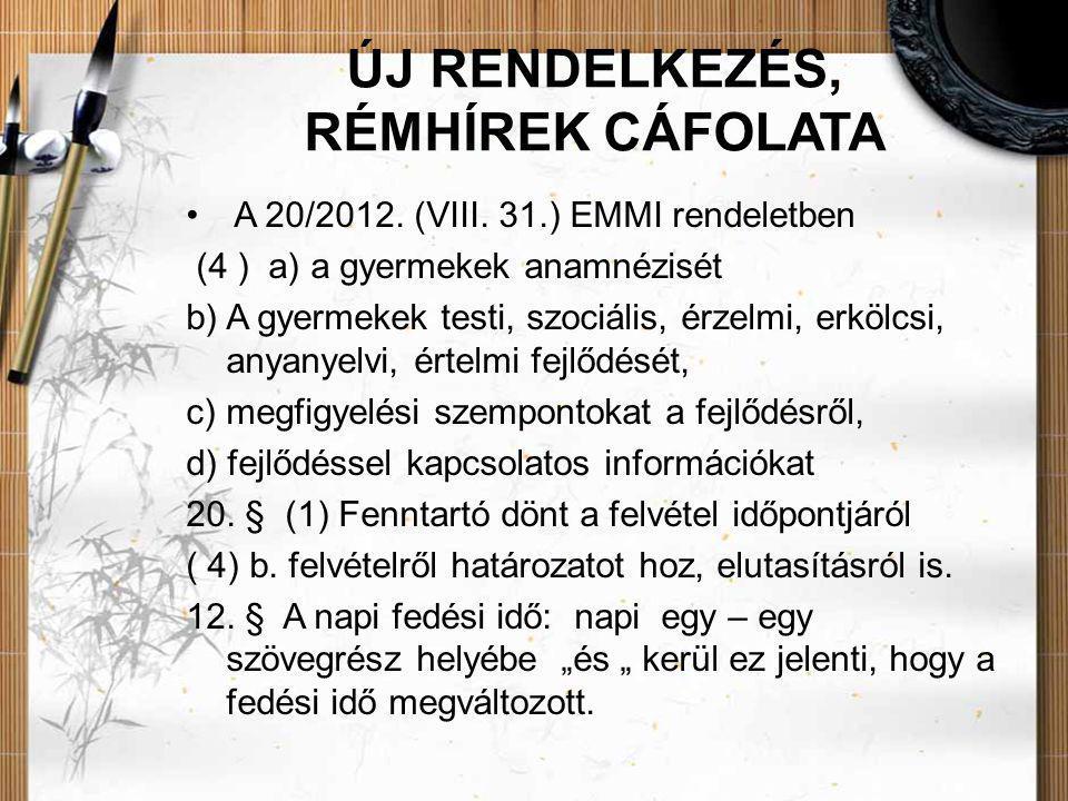 ÚJ RENDELKEZÉS, RÉMHÍREK CÁFOLATA