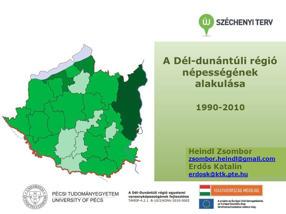A Dél-dunántúli régió népességének alakulása