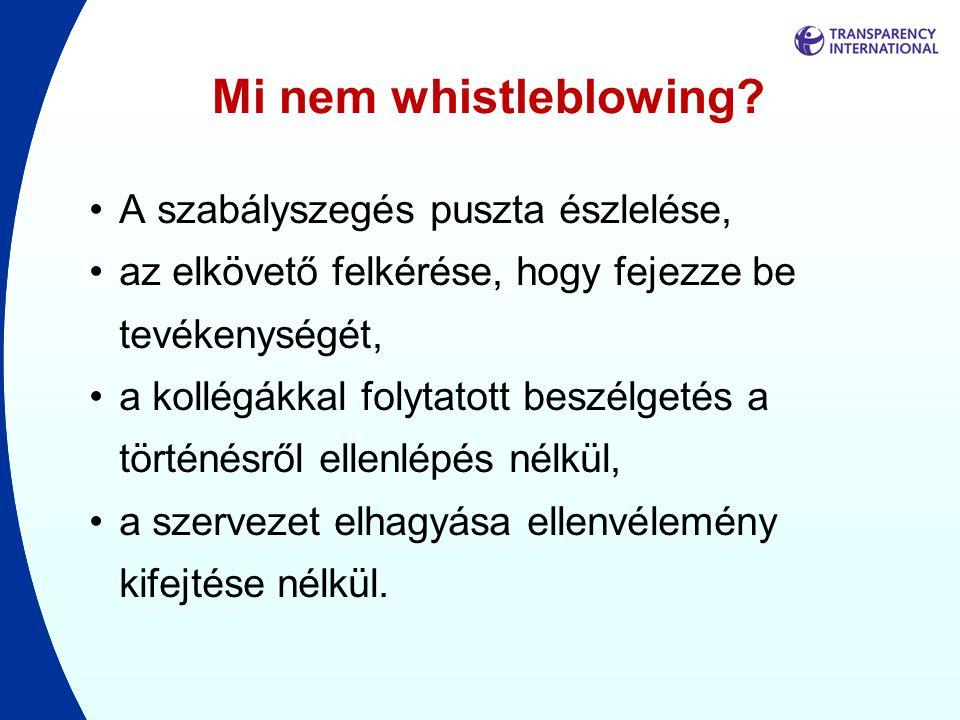 Mi nem whistleblowing A szabályszegés puszta észlelése,
