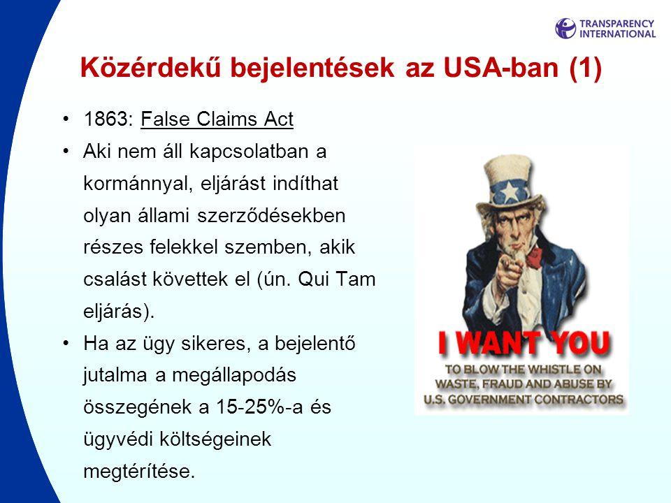 Közérdekű bejelentések az USA-ban (1)