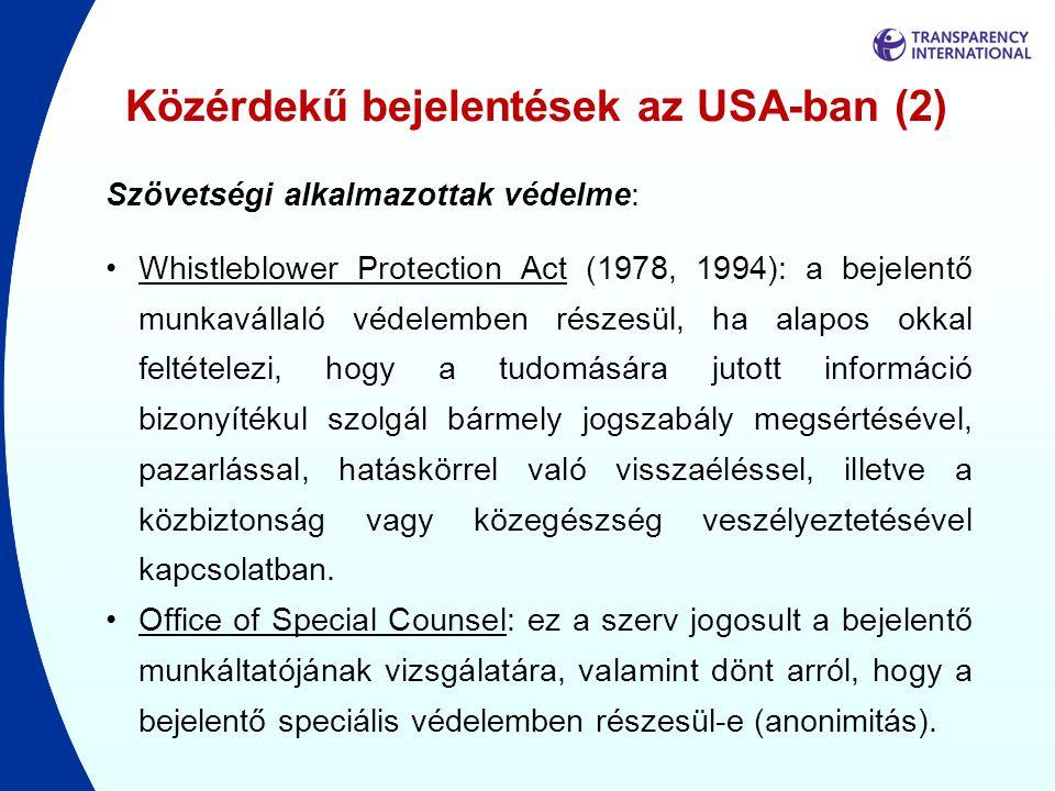 Közérdekű bejelentések az USA-ban (2)