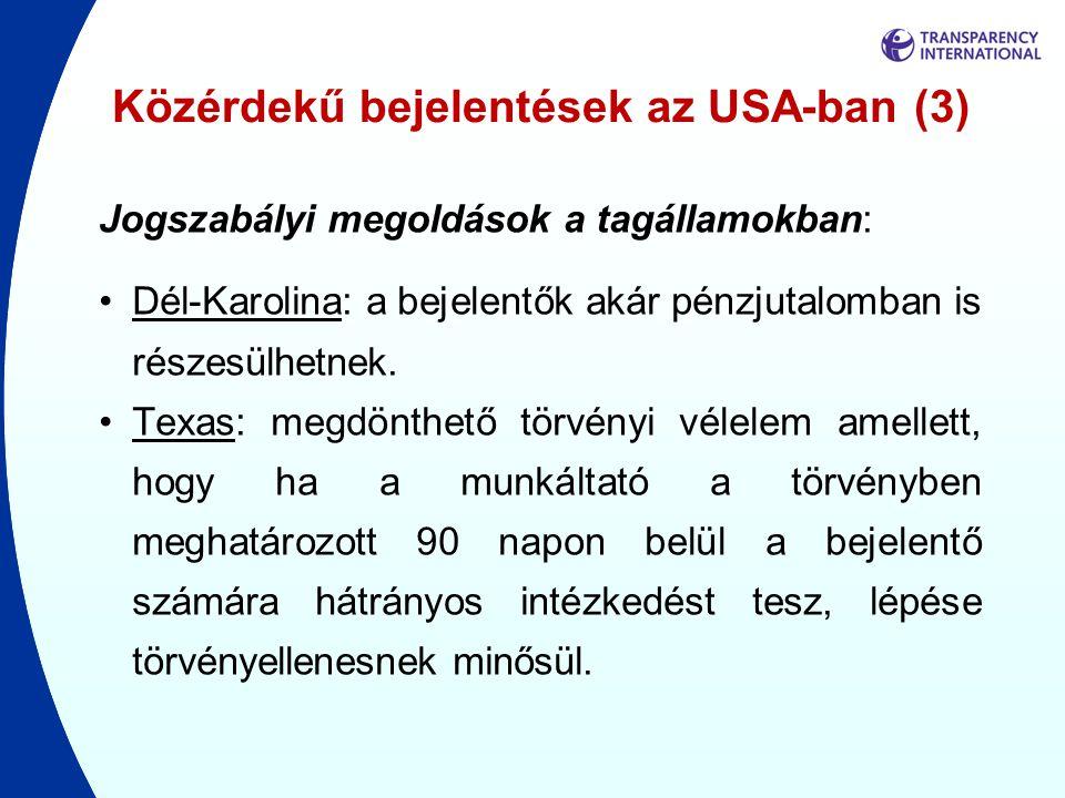 Közérdekű bejelentések az USA-ban (3)