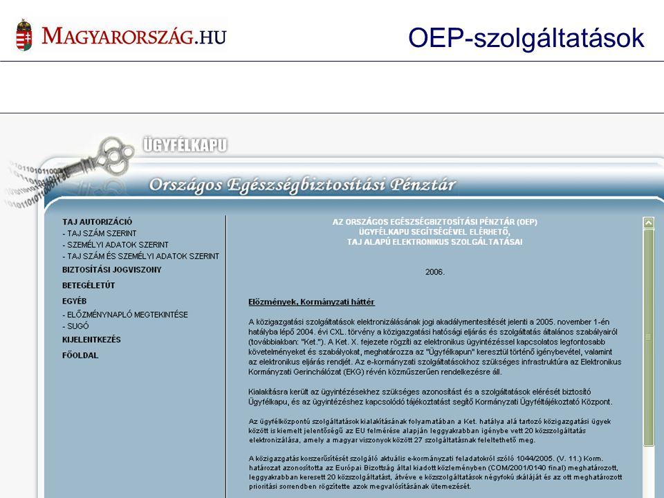 OEP-szolgáltatások