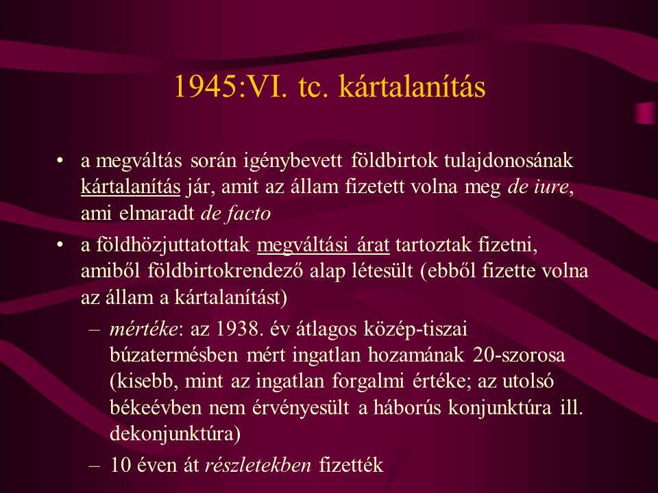 1945:VI. tc. kártalanítás
