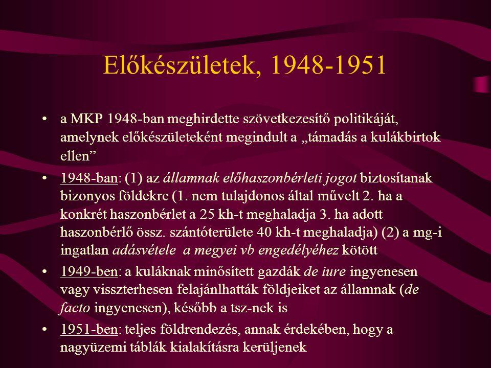 """Előkészületek, 1948-1951 a MKP 1948-ban meghirdette szövetkezesítő politikáját, amelynek előkészületeként megindult a """"támadás a kulákbirtok ellen"""