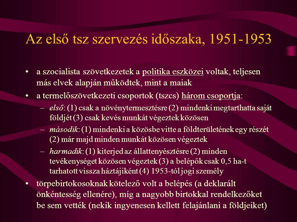 Az első tsz szervezés időszaka, 1951-1953