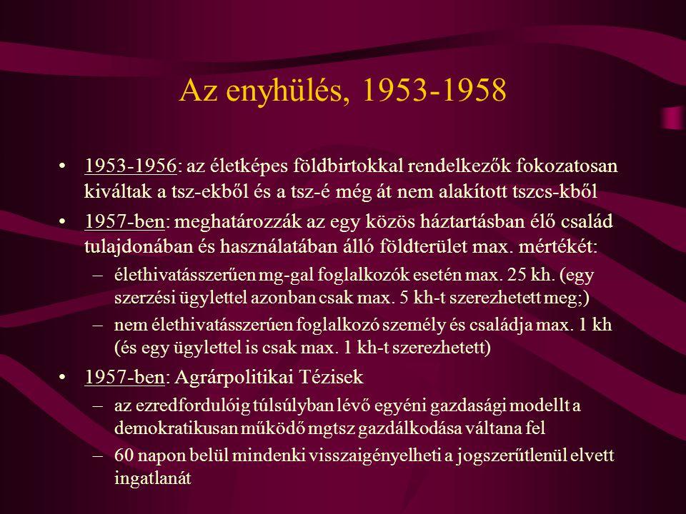 Az enyhülés, 1953-1958 1953-1956: az életképes földbirtokkal rendelkezők fokozatosan kiváltak a tsz-ekből és a tsz-é még át nem alakított tszcs-kből.