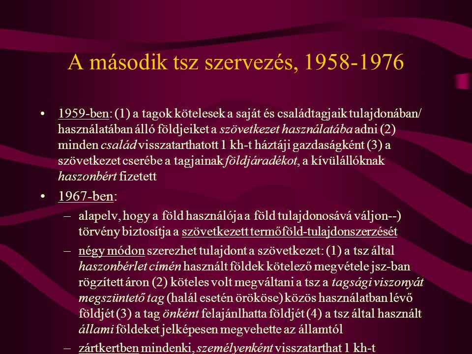 A második tsz szervezés, 1958-1976