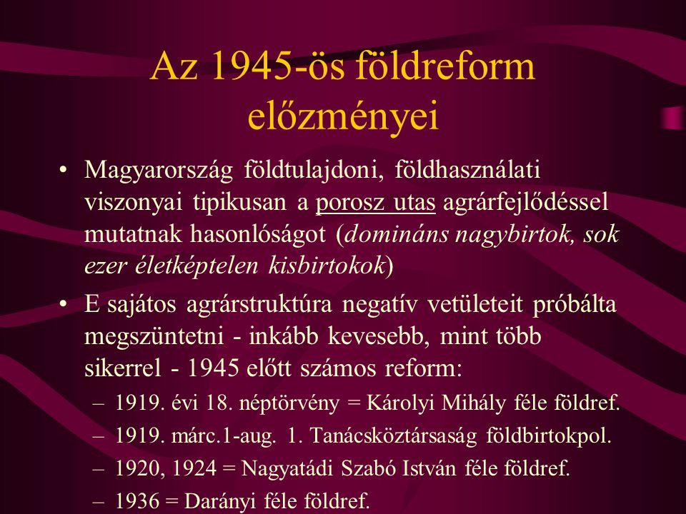 Az 1945-ös földreform előzményei