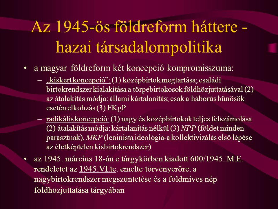 Az 1945-ös földreform háttere - hazai társadalompolitika